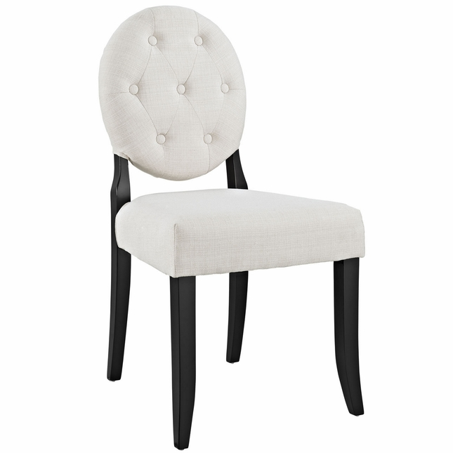 Button Modern Round Back Upholstered Dining Side Chair W Wood Legs Beige
