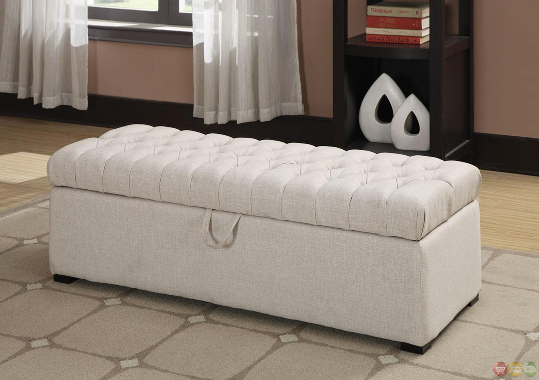 Plush button tufted oatmeal linen storage ottoman w for Ottoman for foot of bed