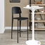 Cabin Contemporary Bentwood Back Bar Stool With Metal Frame, Black