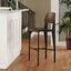 Cabin Contemporary Bentwood Back Bar Stool With Metal Frame, Walnut Black