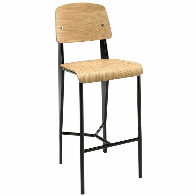 Cabin Contemporary Natural Wood Counter Stool With Black Metal Finish, Natural Black