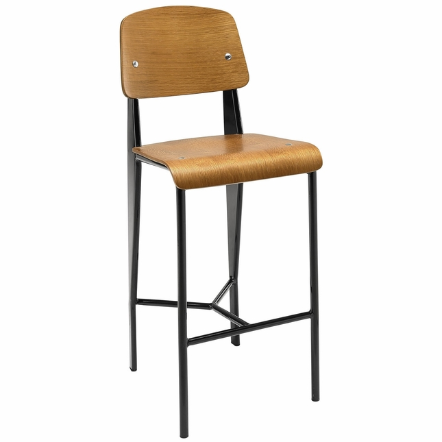 Cabin Contemporary Natural Wood Counter Stool With Black Metal Finish, Walnut Black