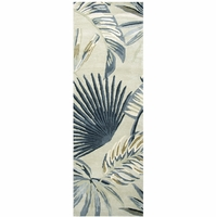 """Rizzy Cabot Bay Wool Runner Area Rug 2'6""""x 8' Khaki Brown Blue Off White Coastal"""