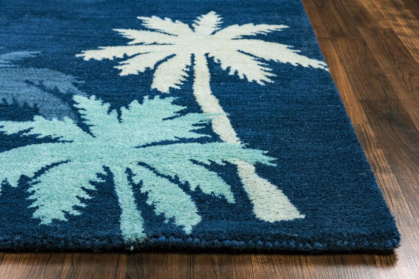 Cabot Bay Coastal Palm Wool Area Rug In Navy Blue Green 8
