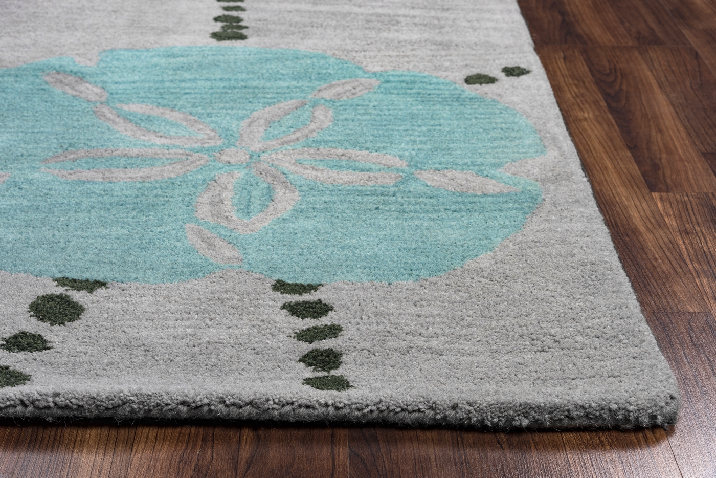 Cabot Bay Coastal Sand Dollar Wool Area Rug In Blue Amp Grey