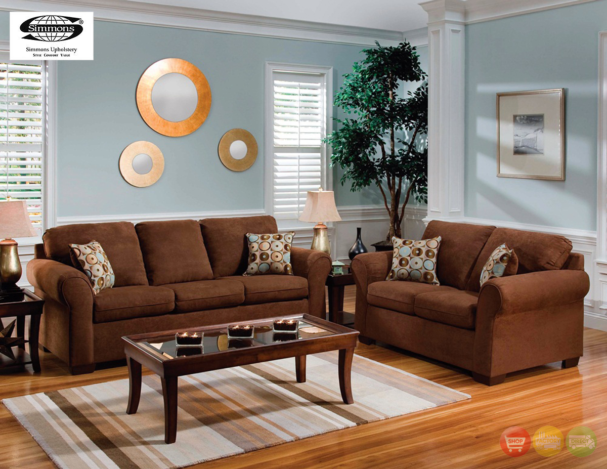 Chocolate brown microfiber sofa and love seat living room for Casual living room furniture