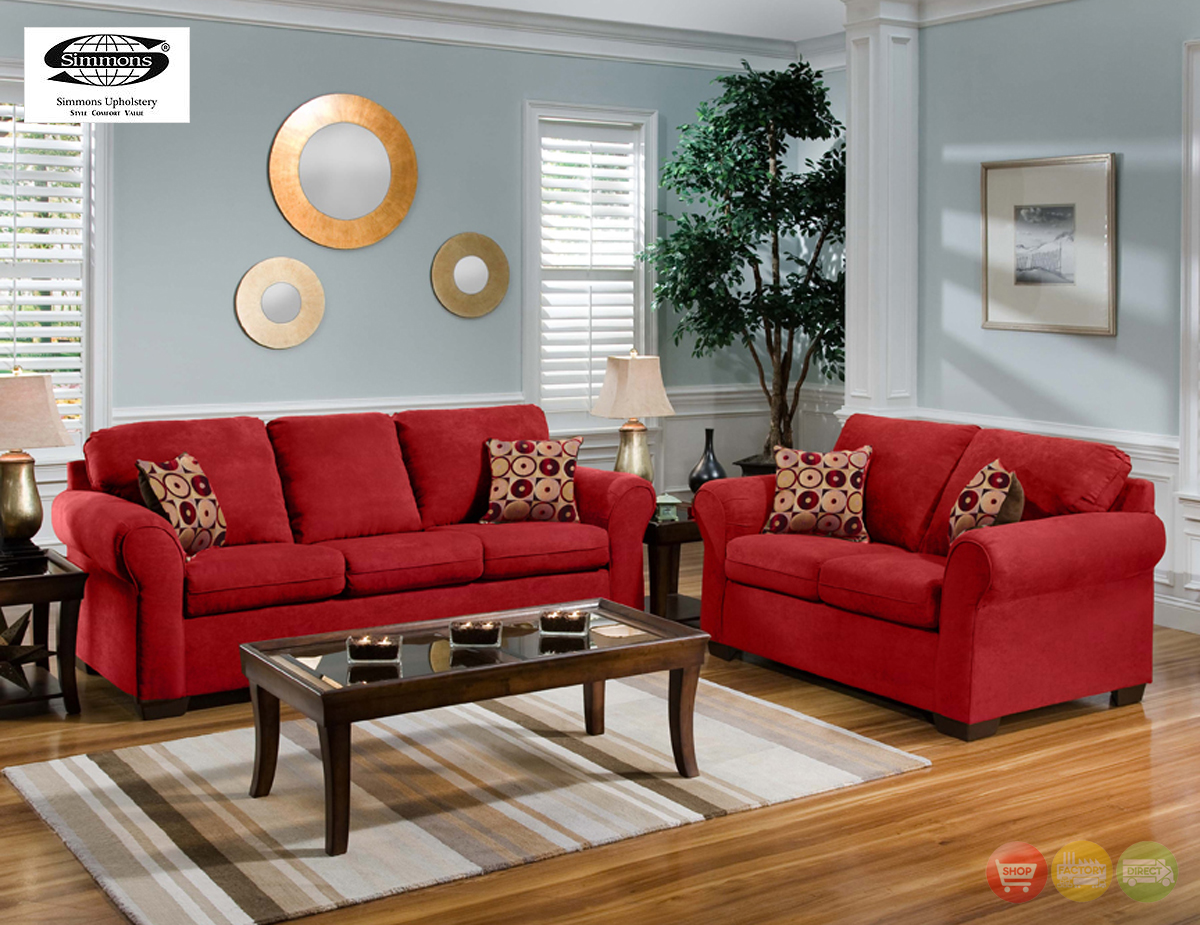 Cabot red microfiber sofa love seat casual living room for Living room decor sets