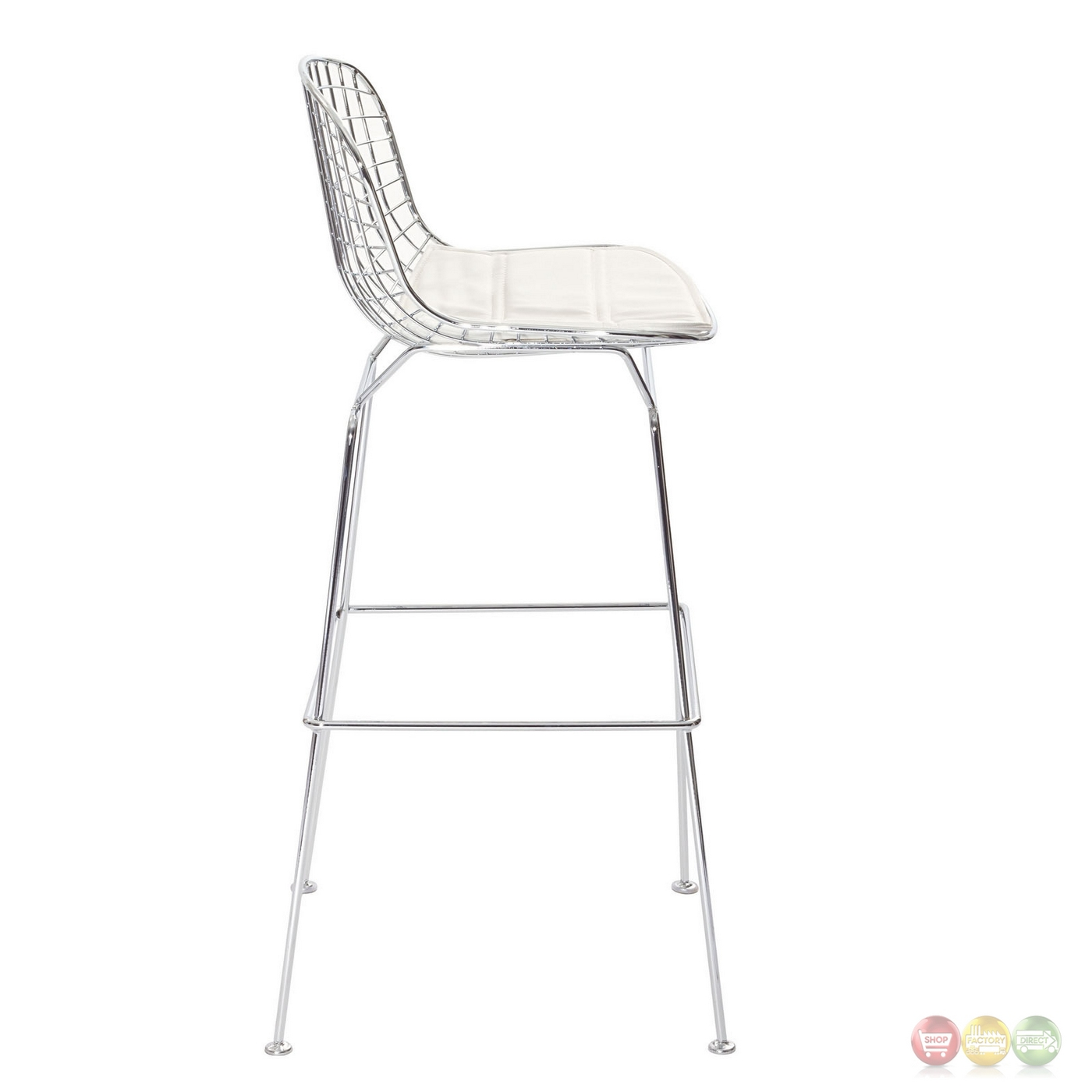 Cad Modernistic Wired Back Bar Stool In Chrome Finish White