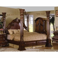 Caledonian Traditional Brown Cherry Queen Poster Canopy Bed Leather Accents