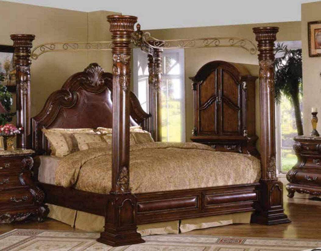 Details About Caledonian Traditional Brown Cherry Queen Poster Canopy Bed  Leather Accents, Red
