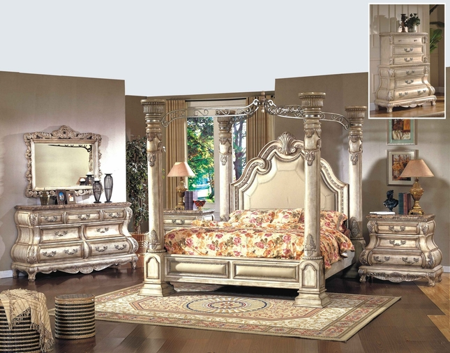 Caledonian victorian inspired canopy bedroom set in - White vintage bedroom furniture sets ...