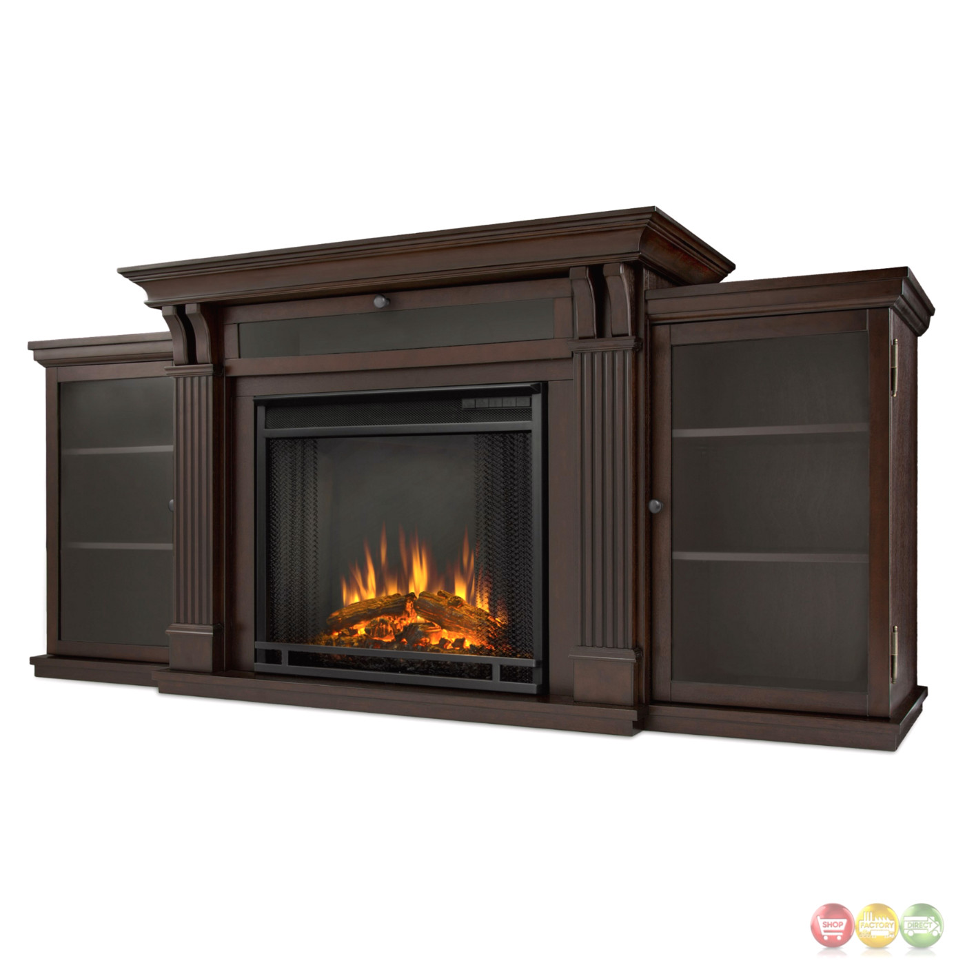 Calie Entertainment Center Electric Led Heater Fireplace In Walnut 67x31