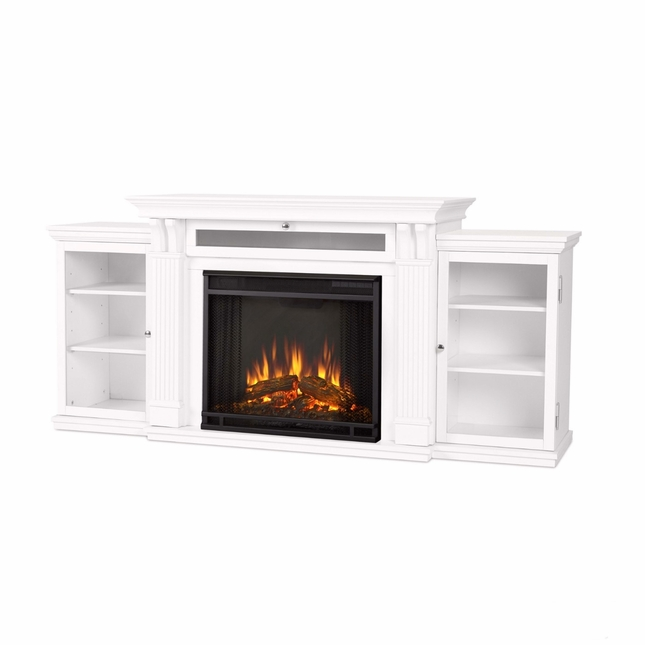 Calie Entertainment Center Electric LED Heater Fireplace In White, 67x31