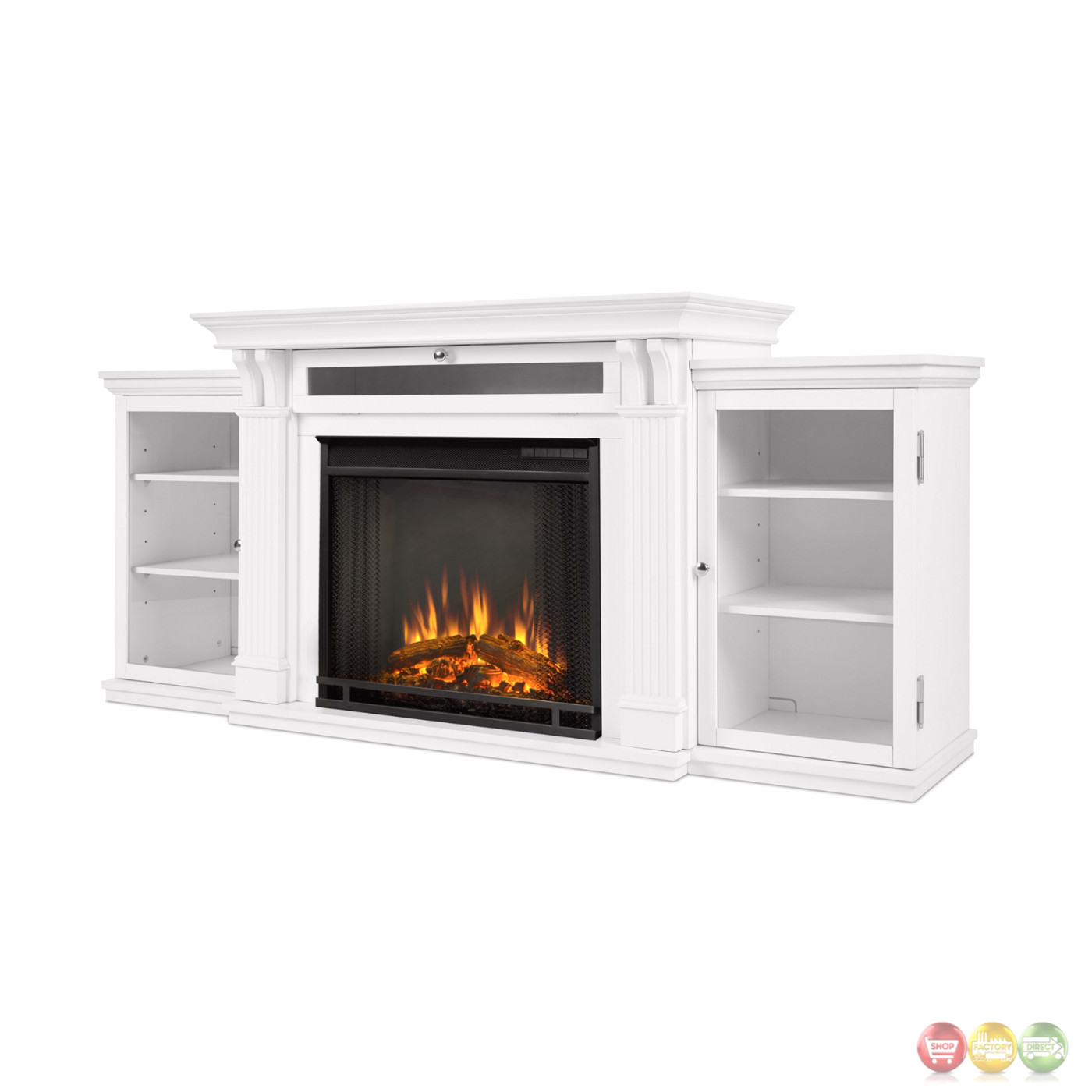 Calie Entertainment Center Electric Led Heater Fireplace In White 67x31