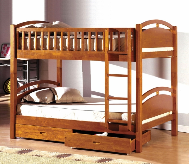 California I Oak Bunk Bed with Two Drawers