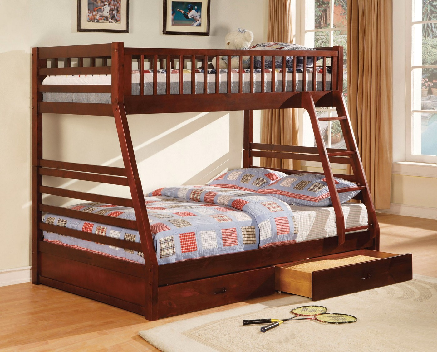 California Ii Cherry Bunk Bed With Two Drawers Cm Bk601ch