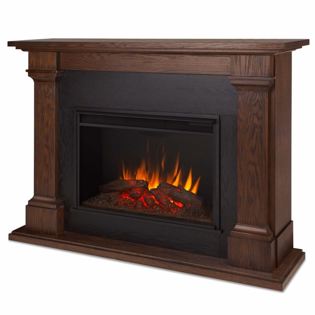 Callaway Grand VIVID LED Electric Fireplace In Chestnut Oak, 63x48, 5100BTU