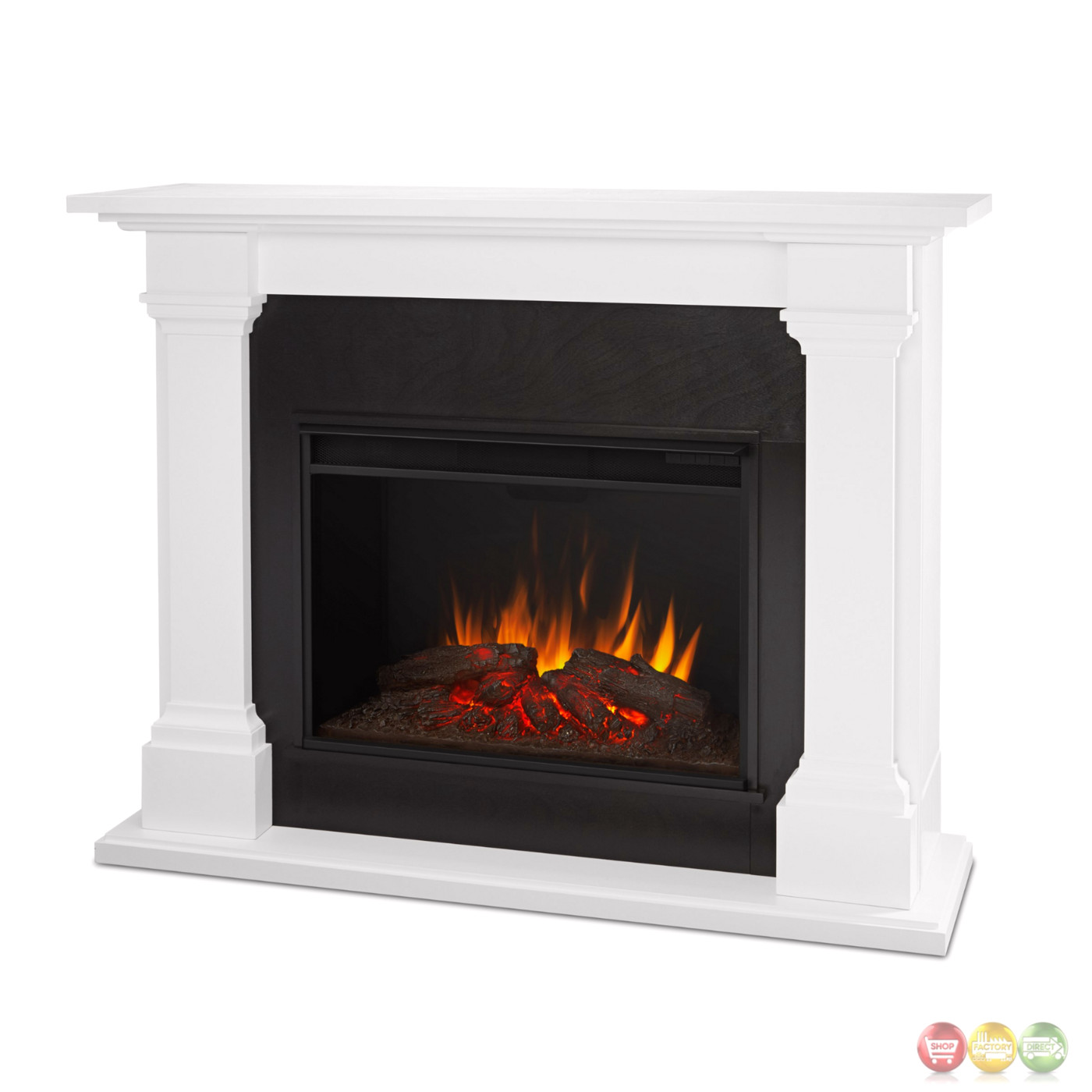 Callaway Grand Vivid Led Electric Fireplace In White 5100btu 63x48