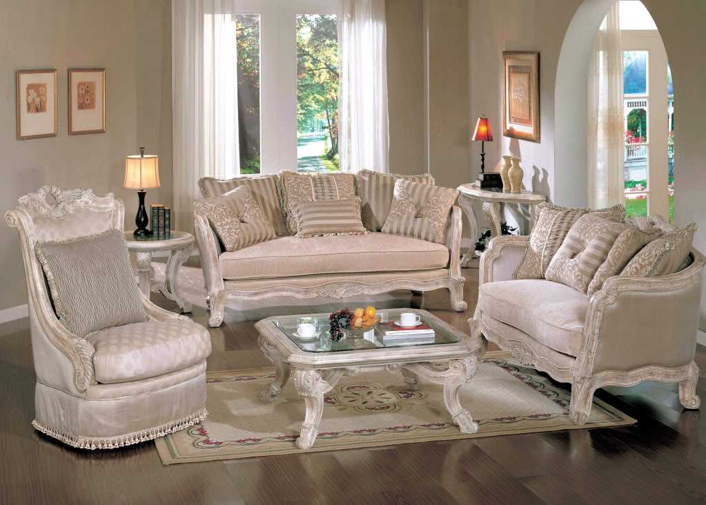 Michael amini lavelle blanc traditional luxury living room for Classic living room furniture