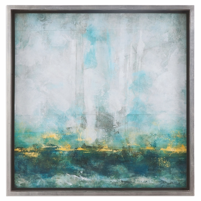 """Calming Aqua Blue Abstract Artwork In Silver Frame With Glass Window, 37""""x37"""""""