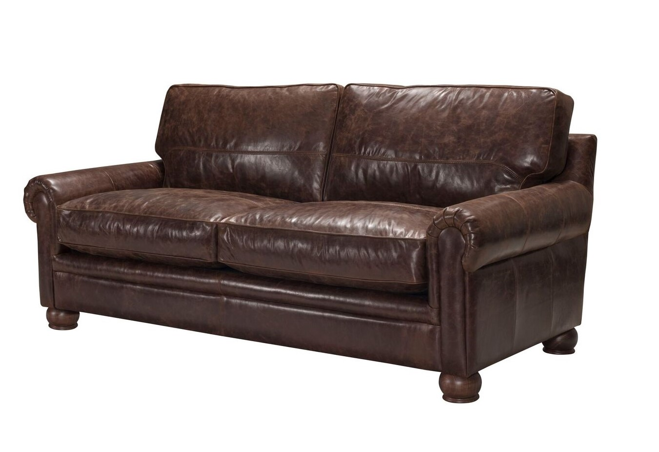 Calvino Contemporary Italian Top Grain Leather Sofa In