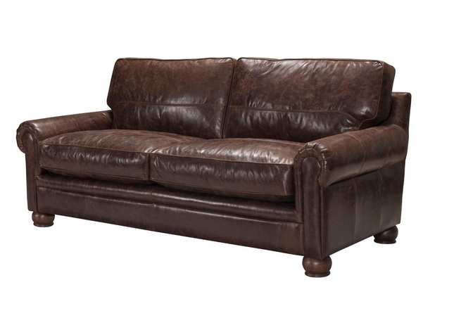 Calvino Contemporary Italian Top Grain Leather Sofa In Vintage Espresso  Brown