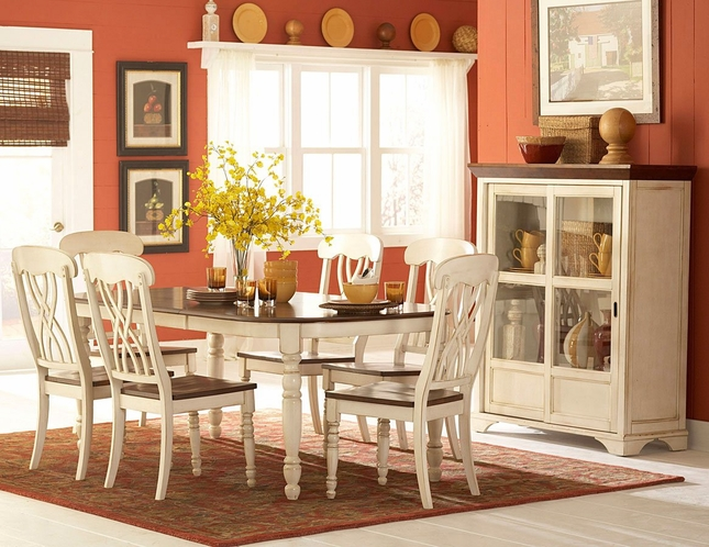 Ohana Country Cottage Oval Dining Room Set With Distressed Whitewash Finish