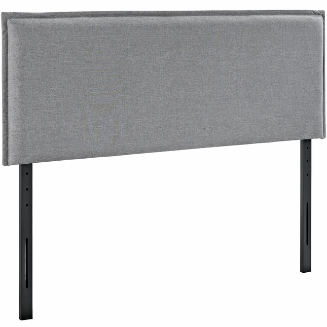 Camille King French Seam Upholstered Fabric Headboard, Light Gray