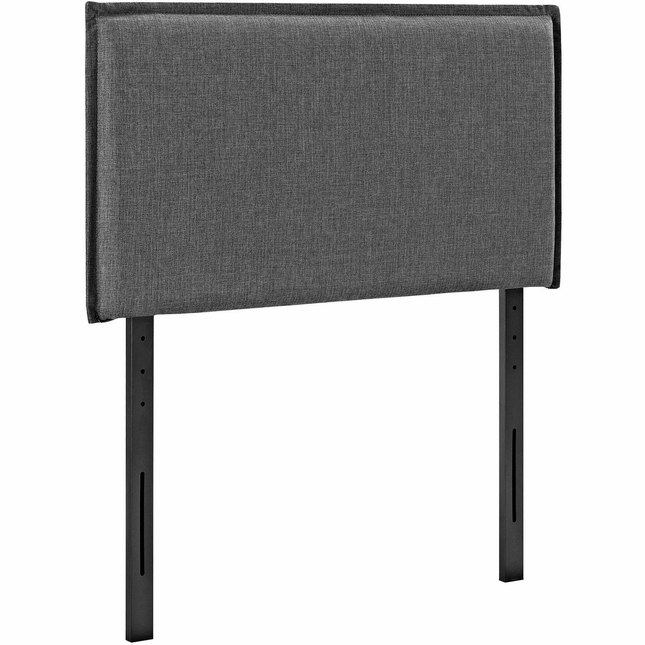 Camille Twin French Seam Upholstered Fabric Headboard, Gray