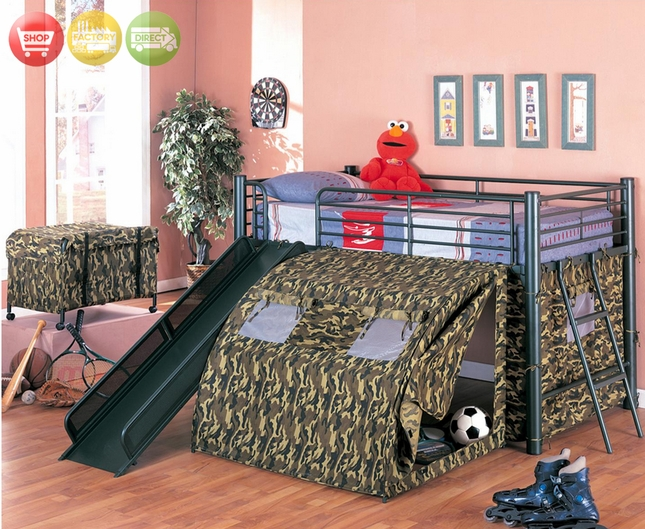Camouflage Tent Loft Bed Kids Fort Bunk Bed
