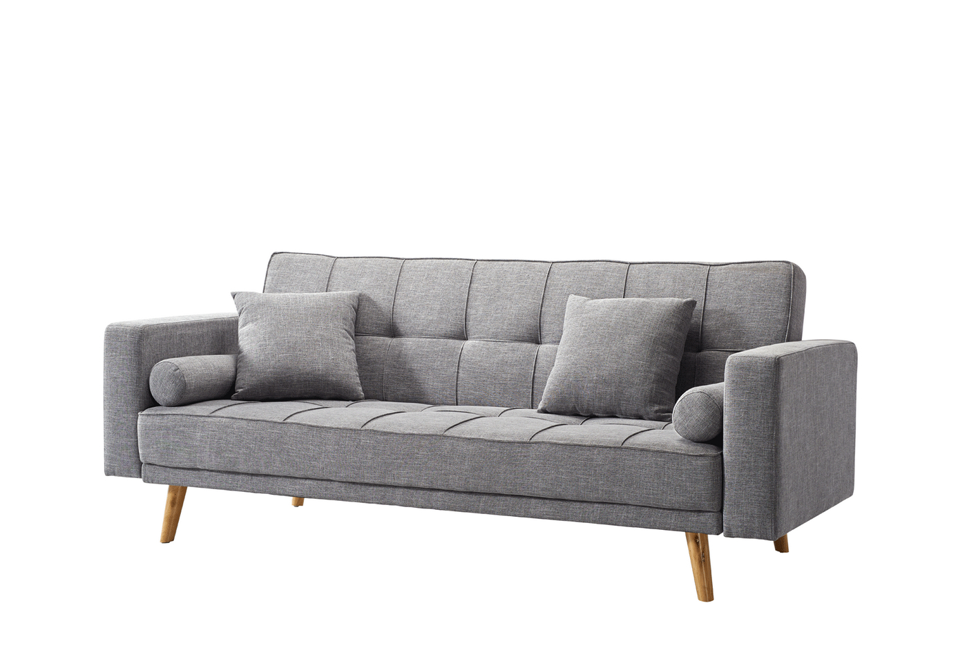 Camryn Contemporary Tufted Grey Linen Sleeper Sofa With