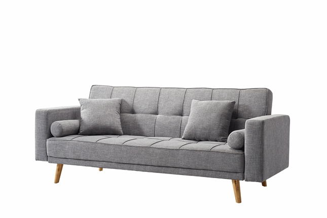 Camryn Contemporary Tufted Grey Linen Sleeper Sofa with Wooden Tapered Legs