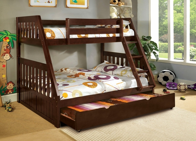 Canberra Mission Dark Walnut Bunk Bed with Angled Hook-on Ladder