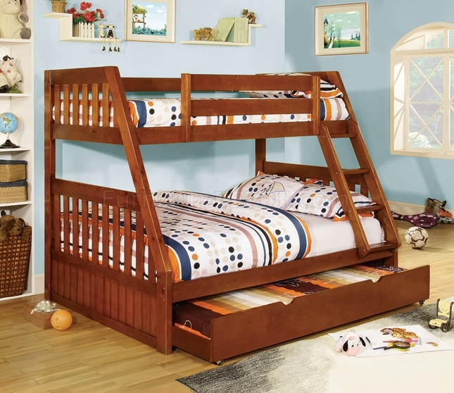 Mission Oak Bunk Bed With Angled Hook