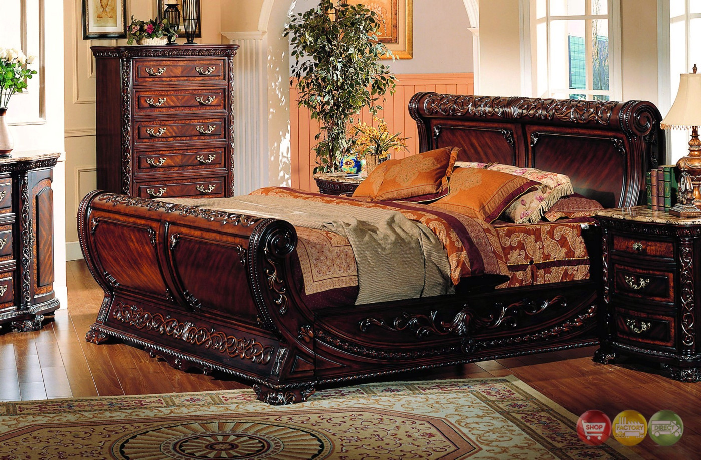 Cannes sleigh bed traditional luxury bedroom furniture for Luxury bedroom furniture