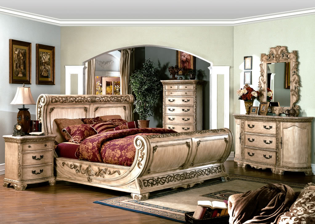 cannes ornate traditional queen sleigh bed ivory white luxury 4pc bedroom set ebay. Black Bedroom Furniture Sets. Home Design Ideas