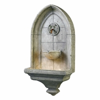 Canterbury Gothic Wall Mount Water Fountain w/ Light Cement Finish 53265CT