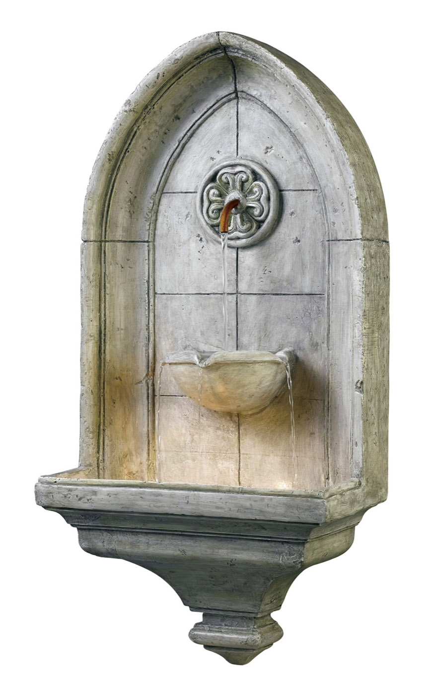 Canterbury Gothic Wall Mount Water Fountain W Light