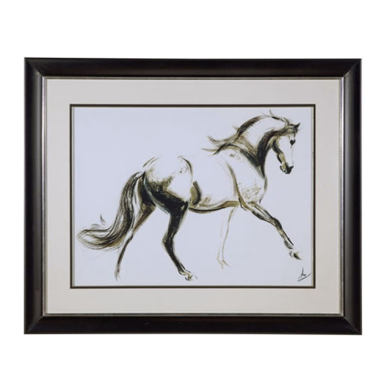 Wall Art Black Horse : Cantering horse black white framed art ec