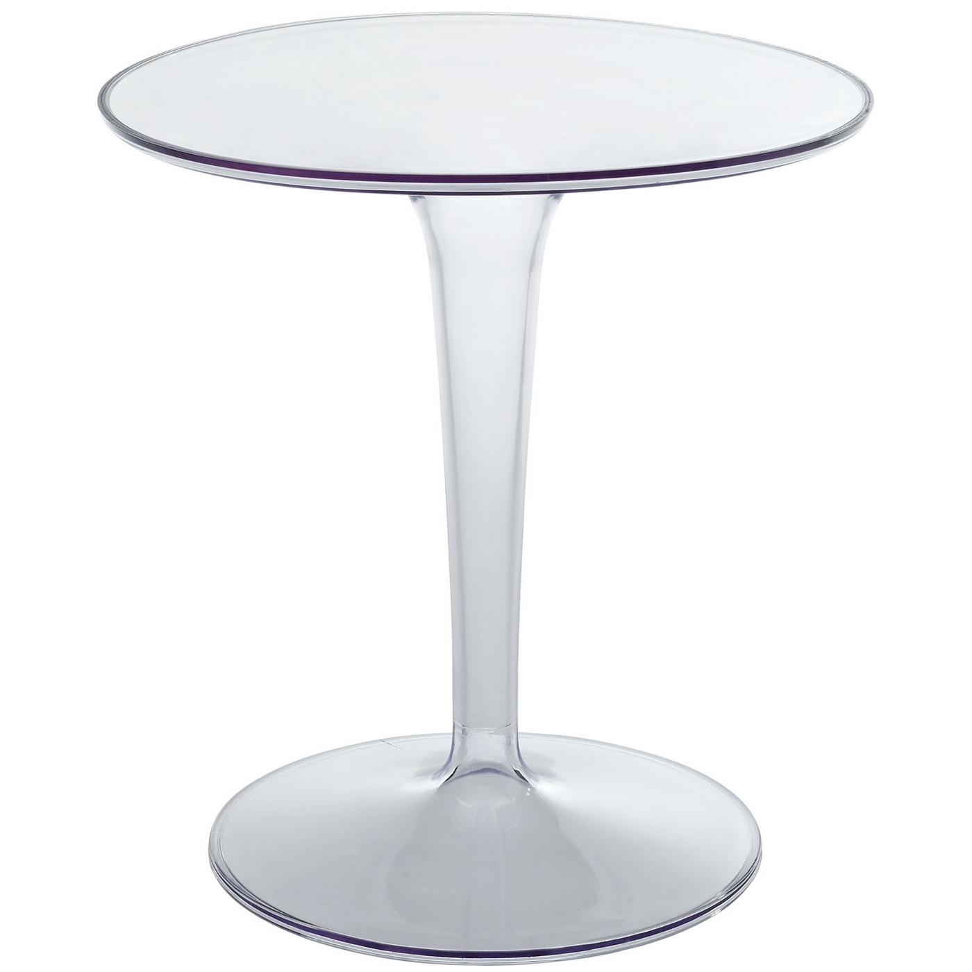 Canvas modern round side table with transparent pedestal for Table transparente