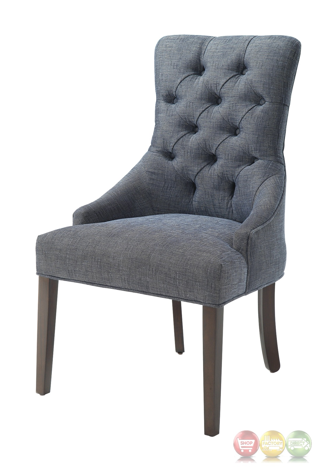 Caprice button tufted blue grey linen accent chair Tufted accent chair