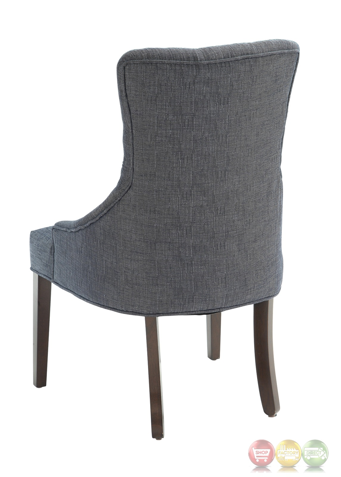 Caprice Button Tufted Blue Grey Linen Accent Chair