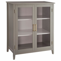 Caprice Sage Grey Tall Storage Cabinet with Gold Accents