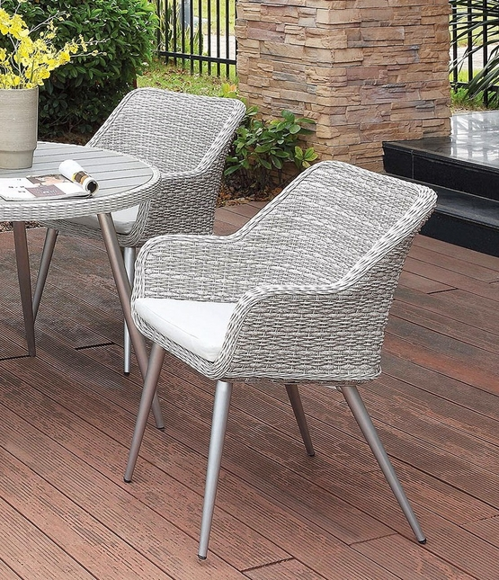 Silver Patio Furniture.Set Of 2 Captiva Modern Light Grey Silver Outdoor Wicker Dining Chair