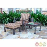 Captiva Cast Aluminum Outdoor Dining Club Chair & Ottoman Set