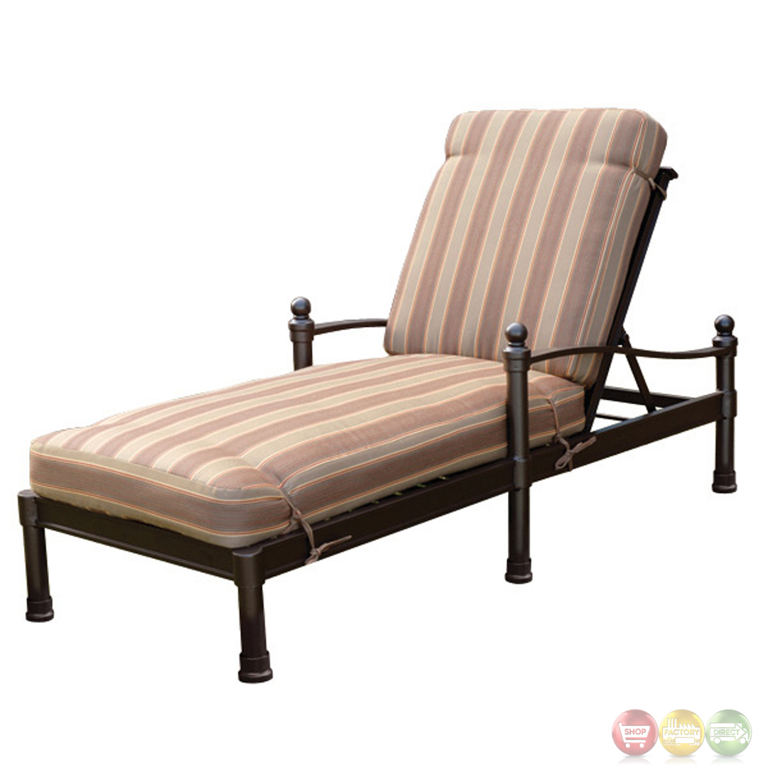 Captiva 3 piece cast aluminum outdoor chaise lounge set for Cast aluminum chaise lounge