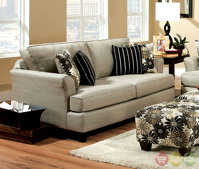 Cardiff contemporary light gray and floral fabric living for Quality living room sets