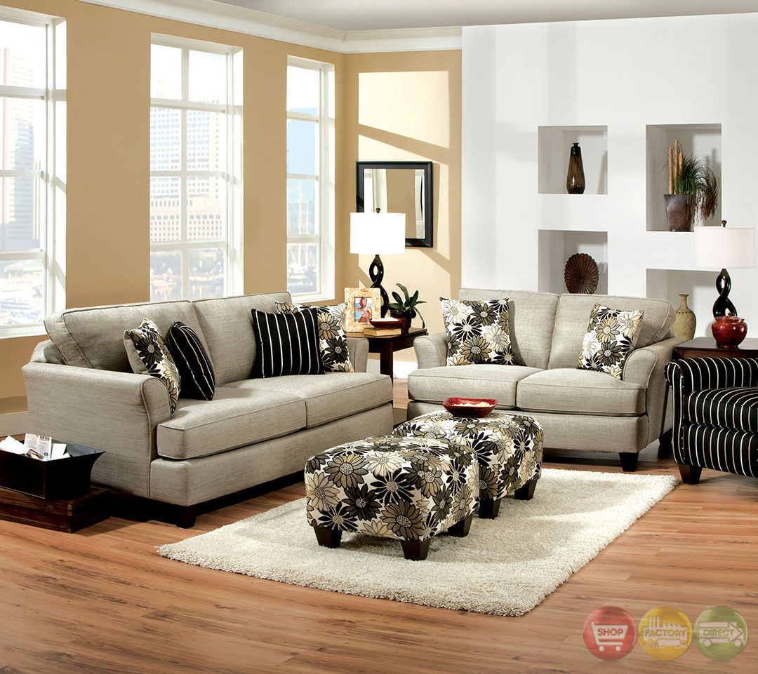Cardiff contemporary light gray and floral fabric living for Contemporary living room sets