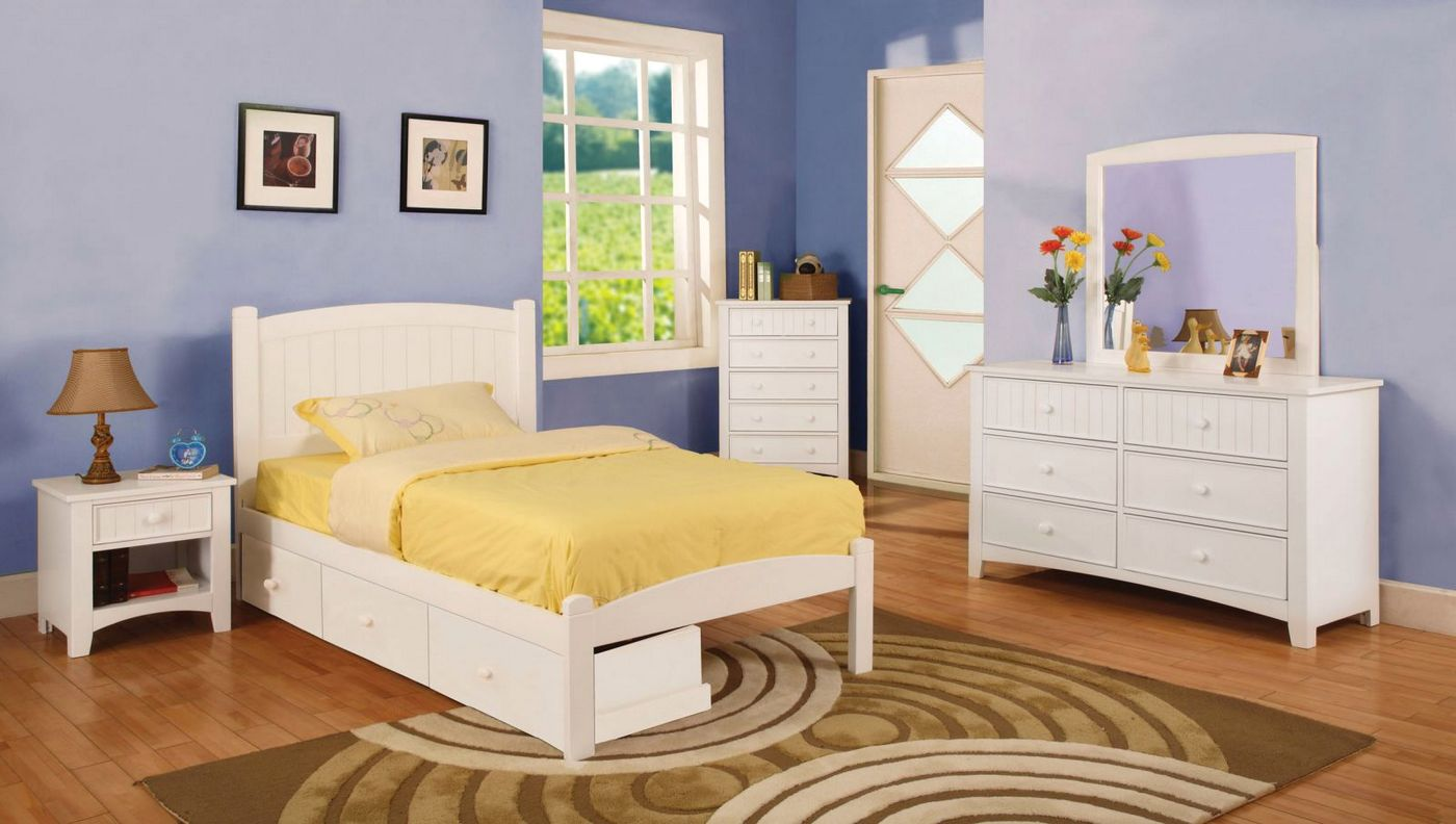 Caren Cottage White Platform Bedroom Set With Slat Kit Cm7902wh
