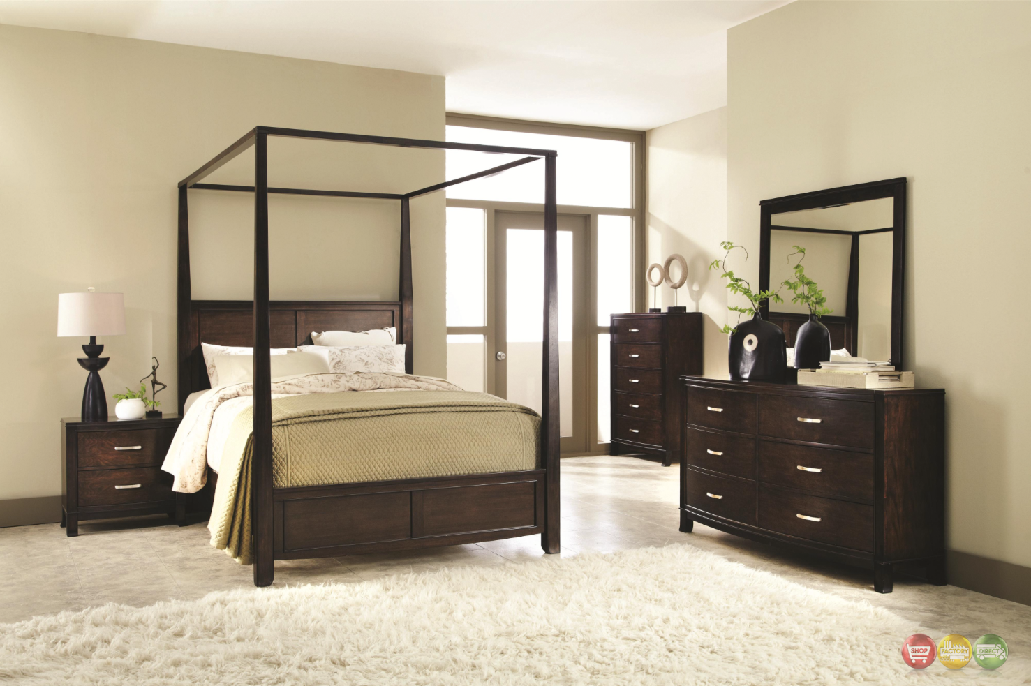 carey poster canopy bedroom collection walnut finish free shipping. Black Bedroom Furniture Sets. Home Design Ideas